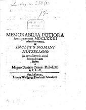 Memorabilia potiora anni praeteriti 1673 calamo revocata, et inclyto nomini Nutzeliano in renascentis anni felix auspicicum dicata