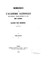 Mémoires de l'Académie des sciences, belles-lettres et arts de Lyon: Classe des sciences, Volume2