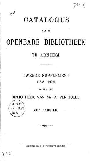 Catalogus van de openbare bibliotheek te Arnhem PDF