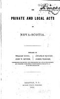 The Private and Local Acts of Nova Scotia PDF