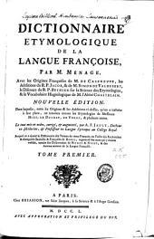 Dictionnaire étymologique de la langue françoise: Volume1
