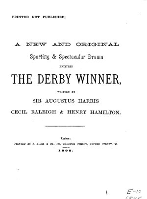 A New and Original Sporting   Spectacular Drama Entitled The Derby Winner