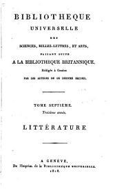 Bibliothèque universelle des sciences, belles-lettres, et arts: Volume 7