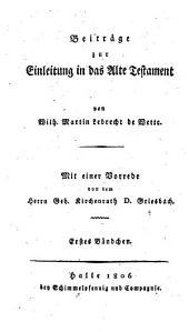 Beiträge zur Einleitung in das Alte Testament: Band 1