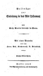Beitr  ge zur Einleitung in das Alte Testament PDF