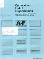 Cumulative List of Organizations Described in Section 170 (c) of the Internal Revenue Code of 1954