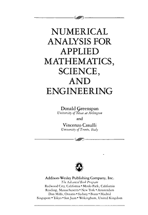 Numerical Analysis For Applied Mathematics  Science  And Engineering PDF