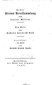 Über Gleim's Briefsammlung und lezten Willen