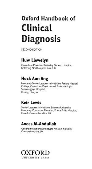 Oxford Handbook of Clinical Diagnosis