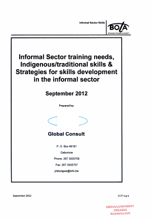 Informal Sector Training Needs  Indigenous traditional Skills   Strategies for Skills Development in the Informal Sector PDF