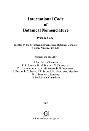 International Code of Botanical Nomenclature  Vienna Code