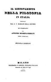 Il rinnovamento della filosofia in Italia proposto dal C. T. Mamiani della Rovere ed esaminato da Antonio Rosmini-Serbati prete roveretano. 2. ed