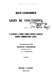 Regum Langobardorum: Leges de structoribus quas C. Baudius a Vesme primus edebat Carolus Promis commentariis auxit