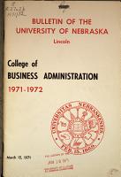 University of Nebraska Lincoln  Catalog  BUSINESS ADMINISTRATION  COLLEGE OF  PDF
