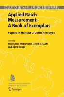Applied Rasch Measurement  A Book of Exemplars PDF