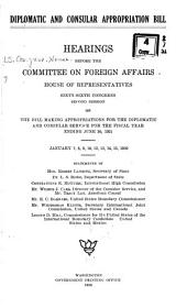Diplomatic and Consular Appropriation Bill: Hearings Before the Committee on Foreign Affairs, House of Representatives, Sixty-sixth Congress, Second Session, on the Bill Making Appropriations for the Diplomatic and Consular Service for Th Fiscal Year Ending June 30, 1921