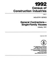 1992 Census of Construction Industries: Industry series, Volume 1