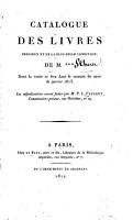 Catalogue des livres pr  cieux et de la plus belle condition  de M      PDF