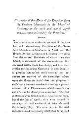 Narrative of the Effects of the Eruption from the Tomboro Mountain, in the Island of Sumbawa on the 11th and 12th of April 1815