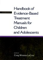 Handbook of Evidence Based Treatment Manuals for Children and Adolescents PDF