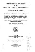 Cumulative Supplement to the Code of Federal Regulations of the United States of America PDF