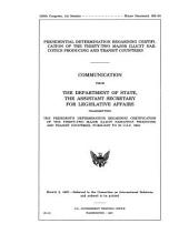 Presidential Determination Regarding Certification of the 32 Major Illicit Narcotics Producing and Transit Countries