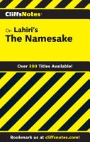 CliffsNotes on Lahiri s The Namesake PDF