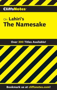 CliffsNotes on Lahiri s The Namesake PDF