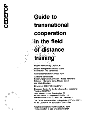Guide to transnational cooperation in the field of distance training