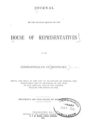 Journal of the House of Representatives of the Commonwealth of Kentucky PDF