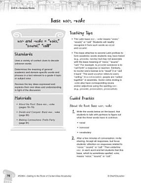 Content Area Vocabulary Level 4  Base voc    voke PDF