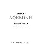 Aqeedah Level 1- Teachers Manual
