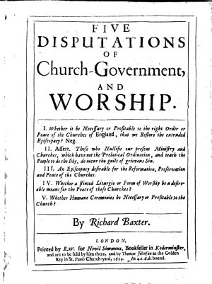 Five Disputations of Church government and Worship     PDF