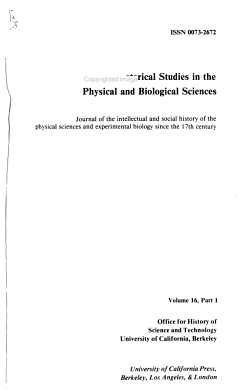 Historical Studies in the Physical and Biological Sciences PDF