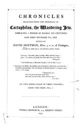 Chronicles Selected From The Originals Of Cartaphilus The Wandering Jew Book PDF