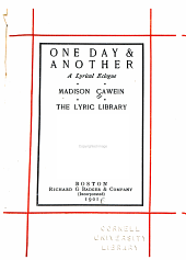 One Day & Another: A Lyrical Eclogue