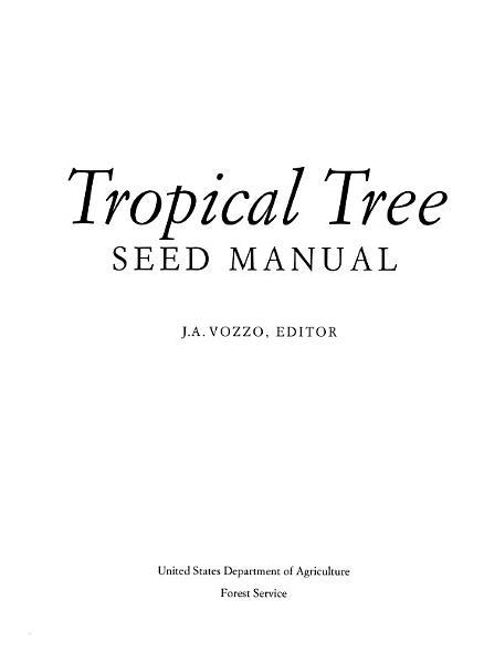 Tropical Tree Seed Manual
