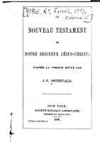 Le Nouveau Testament de Notre Seigneur J  sus Christ PDF