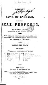 A Digest of the Laws of England Respecting Real Property: By William Cruise, Volumes 1-2
