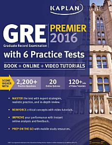 GRE Premier 2016 with 6 Practice Tests Book