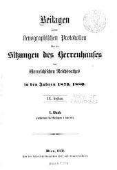 Stenographische Protokolle über die Sitzungen des Herrenhauses des Reichsrates: Band 1;Band 9