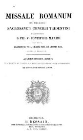 Missale Romanum ex decreto sacrosancti Concilii Tridentini restitutum,