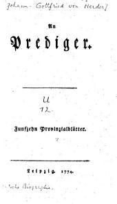An Prediger: Fünfzehn Provinzialblätter