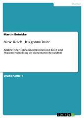 """Steve Reich """"It's gonna Rain"""": Analyse einer Tonbandkomposition mit Loop und Phasenverschiebung als elementaren Bestandteil"""