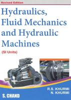 Hydraulics  Fluid Mechanics and Hydraulic Machines PDF