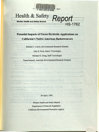 Potential Impacts of Forest Herbicide Applications on California s Native American Basketweavers PDF