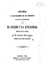 Glosa a las palabras de un creyente de Mr. de Lamennais: o sea el pasado y la actualidad