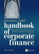 Handbook of Corporate Finance