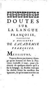 Doutes sur la langue Françoise