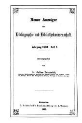 Neuer Anzeiger für Bibliographie und Bibliothekwissenschaft: 1860